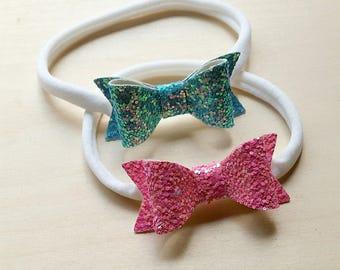 Newborn Baby Headbands,Mini Hair Bows,Headband Set,Nylon Headbands,Glitter Bow Headbands,Baby Headbands,Pink Glitter Bow
