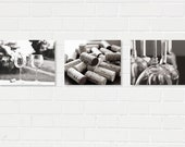 Wine Photography Three Print Set- Black and White Phtography, Wine Glasses and Corks Prints, Bar/Kitchen Decor, Save 15%, Wine Art Set