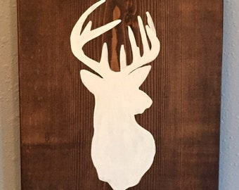 Deer Silhouette on Wood Wall Hanging