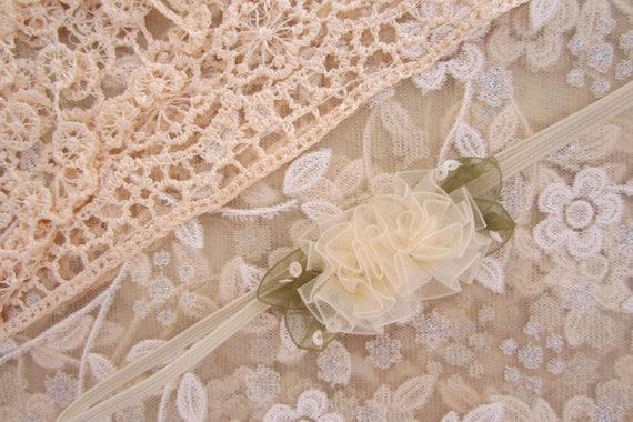 Lace Fringe Wrap in Beige with Peach Fringe AND/OR Organza Flower headband, newborn photo shoots, newborn wrap set, by Lil Miss Sweet Pea