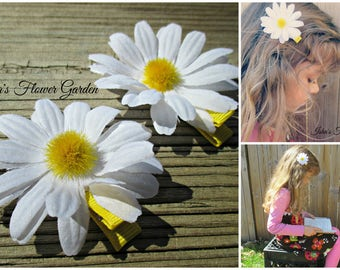 White Daisy hair clip, daisy hair accessories, daisy flower hair barrette