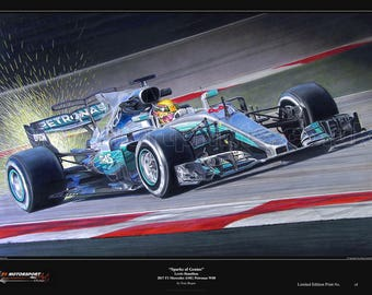 "Lewis Hamilton ""Sparks of Genius"" F1 Mercedes AMG Petronas W08 2017 Limited Edition Art Print from an original painting."