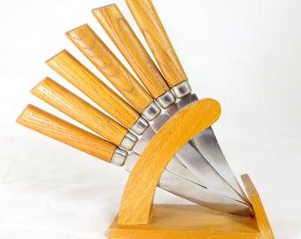 Mid Century Modern Knife Set, Scandinavian Swedish Modernist Stainless Steel Butter/Fruit Knives + Beech Wood Stand, Eskilstuna Sweden 1960s