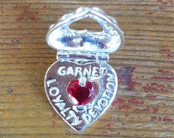 1 - January Locket Garnet Charm Birthstone Heart