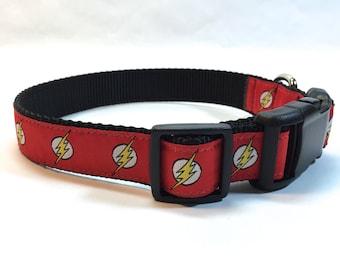 Flash dog collar, lightening bolt collar, bolt collar, superhero dog collar, DC comics dog collar, pet gift, dog accessory, Bozies Bags