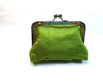 metal frame clutch, green dupioni silk clutch, lined in green fabric with atom symbols, Wristlet, Dorothy Clutch, Bozie's Bags
