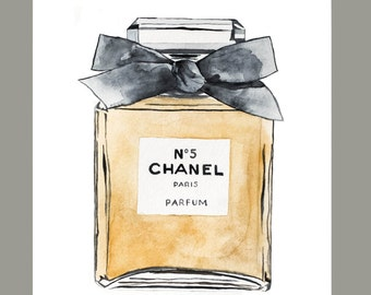 Water Color Chanel No 5 with Ribbon (8'x10')  Original Art