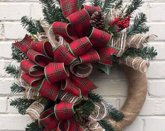 Rustic Plaid Winter Wreath, Winter Plaid Wreath, Plaid Wreath, Rustic Wreath, Jue Mesh Winter Wreath