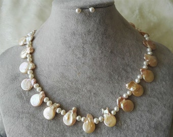 jewelry set - white freshwater pearl & pink coin pearl necklace earrings set