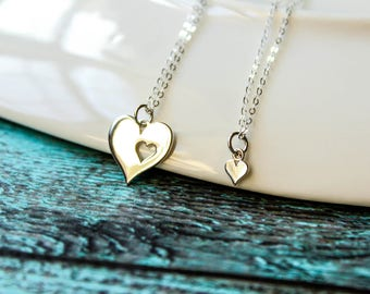 Piece of My Heart Necklace Set in Sterling Silver - Big and Little Heart Necklaces, Two Necklaces, Matching Necklace Set