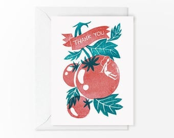 Limited Edition - Thank You - Linocut Print - Red + Teal