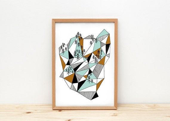 Geometric mountain art print, illustration by depeapa, geometric print, mountain wall art, A4 poster, wall decor, modern home decor