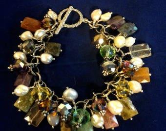 Cha Cha Bracelet, Glittery Multistone And Pearl Sterling Silver Bracelet