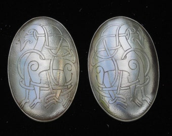 Norse Jewelry - Viking Tortoise Brooch (Turtle Brooch) Set Handmade and Etched with Viking Beasts in Brass Copper or Nickel - Made to Order