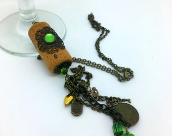 Wine Cork Pendant   Rustic  Wine   Cork Pendant   Cork Jewelry   Item 1598