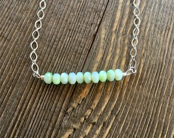 Silver and Chrysoprase Minimalist Necklace Bar Necklace Layering Necklace Trapeze Necklace  item 752