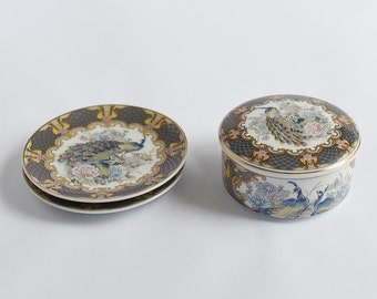 Vintage Ceramic Box and Saucers Set Lovely Peacock Floral Design Excellent Condition Great Gift