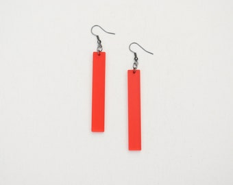 Bar earrings, geometric earrings, red earrings, minimal earrings, long dangle earrings, acrylic earrings, laser cut earrings
