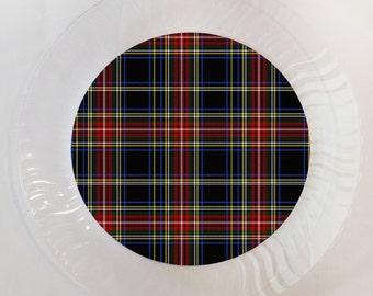 Stewart Black Tartan Plaid Print Plastic Plate - Set of 12
