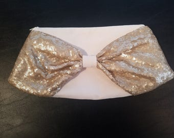 Bow Clutch - Faux Ivory Suede Body with Champagne Sequin Bow, Red Organic Silk Lining, Ivory Zipper