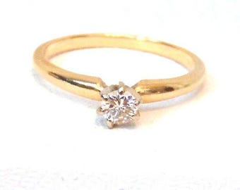 Vintage Diamond Solitaire Engagement Ring in 14k Yellow and White Gold