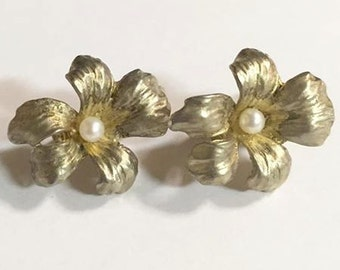 Vintage Napier Sterling Silver Flower Clip On Earrings