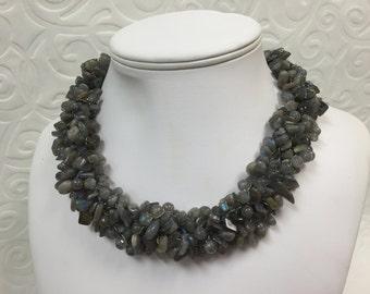Labradorite Wire Crochet Necklace