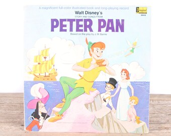 Vintage 1969 Walt Disney's Peter Pan Record / A Disneyland Record 3910 / Antique Vinyl Records / Old Records Music / Kids Movie Room Decor