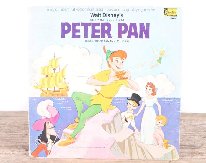 Vintage 1969 Walt Disney's Peter Pan Record / A Disneyland Record 3910 / Antique Vinyl Records / Old Records Music / Kids Movie Room Decor