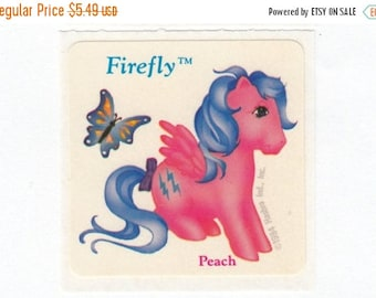 SALE Rare Vintage My Little Pony Scratch and Sniff Peach Sticker - Firefly 80's Unique Retro Gift - G1 Pegasus MLP Collectible Scented