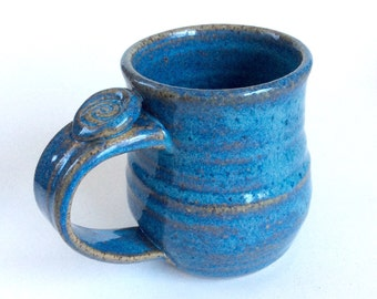 Blue Pottery Coffee Mug, Large Ceramic Coffee Cup, Blue, Thumb Rest, Ready to Ship