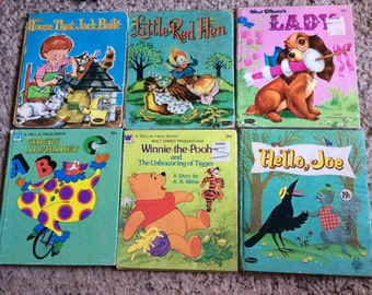 VINTAGE CHILDRENS BOOKS, 6 stories, mid century, reading, illustrations, Disney, picture book
