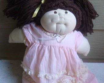 Vintage 1981 Soft Scultpure Handmade Cabbage Patch Doll Brown Hair