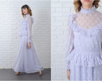 Vintage 70s Periwinkle Lace Dress Victorian Peplum Full Maxi XS Small S 9146