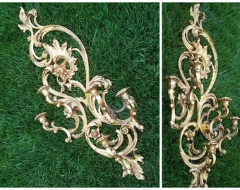 "Large 35"" Tall Ornate Dart Syroco Hollywood Regency Five Arm Candle Holder Wall Sconce"