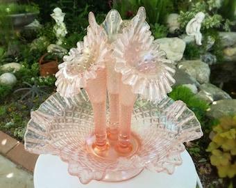 Pink Iridescent Ruffled Diamond Lace Fenton Epergne Flower Vase Centerpiece