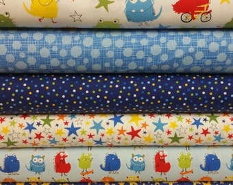 Bright Monsters Bundle From Robert Kaufman's Monster Collection (6 Fabrics)