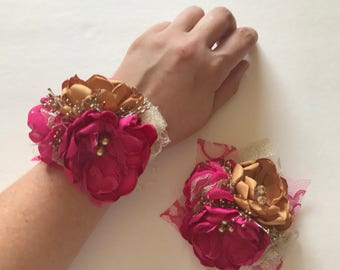 Hot Pink and Gold Wrist or Pin Corsage - Fabric Flower Corsage - Fabric Wedding Flowers, Handmade Fabric Flowers, Pink and Gold, Fuschia