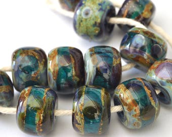 Handmade Lampwork Glass Beads - (12 Beads) Donut Shaped Handmade Lampwork Bead Set  - SRA