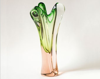Pastel green rose shades hand blown vase artistic work tall glass vase transparent glass vase home decor heavy vintage vase Cold war period