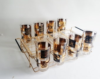 Midcentury Frank Maietta Complete Bar Set Black Gold Cocktail Glasses Glass Trays Original Carrier Seven Wonders Of The World Bar Set