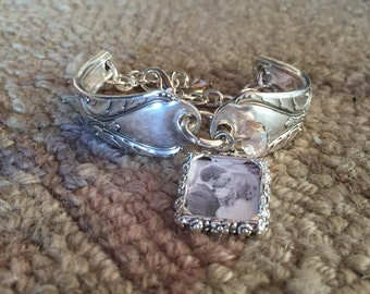 Spoon Bracelet - Upcycled Antique Silverplate Spoons - Avalon - Photo Frame - Vintage Wedding (2992-LV)