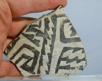 "Large Anasazi Pottery Shard Artifact From Arizona 3.90"" x 3.51"" Rare Monochrome Color Antique Native American Artifact"