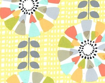 ON SALE Michael Miller fabric by the yard Petal Pinwheels in Canary 1 Yard