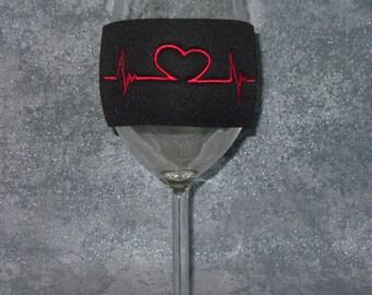 Wine Glass Sleeve,Coffee Sleeve, Coffee Cozy, Medical Heart