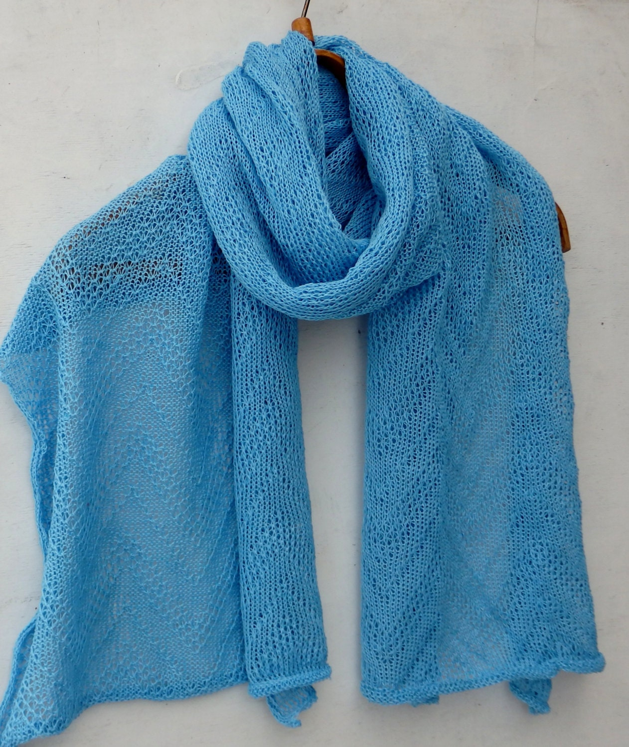 knit linen scarf knitted light blue shawl knitting wedding