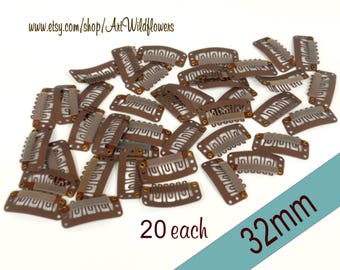 Brown Mic Clips - 32mm Weft Clips for Wireless Microphone Clips & Wig Repair