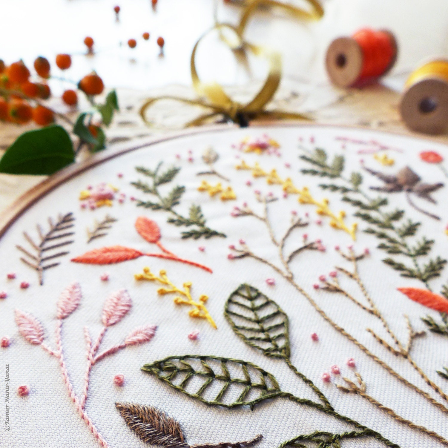 Modern hand embroidery kit autumn leaves