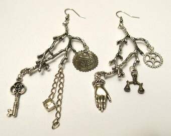 Assemblage statement earrings