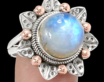 Rainbow Moonstone Sterling Silver two tone Ring s.7
